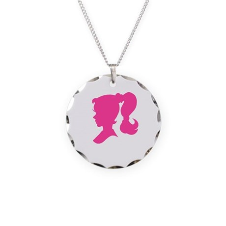 GIRL SILHOUETTE Necklace Circle Charm