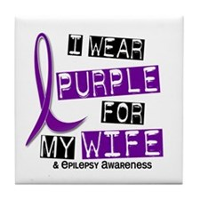 I Wear Purple 37 Epilepsy Tile Coaster