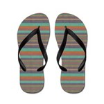 Multi Striped Green and Brown Flip Flops