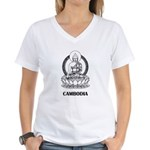 Cambodia Buddha Women's V-Neck T-Shirt