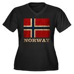 Vintage Norway Women's Plus Size V-Neck Dark T-Shi