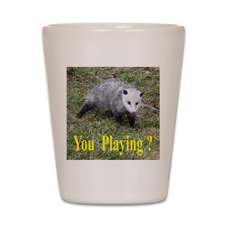 Playing Possum Shot Glass