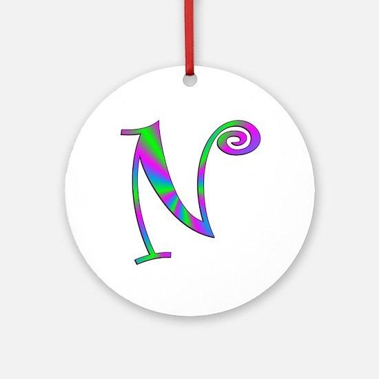 N Monogram Ornament (Round)