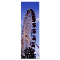 Low angle view of a ferris wheel, Chicago, Illinoi Poster
