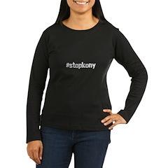 #stopkony white Women's Long Sleeve Dark T-Shirt