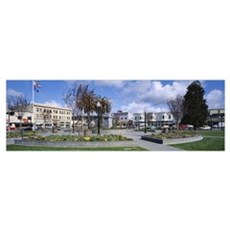 Formal garden in front of buildings, Arcata Plaza, Canvas Art