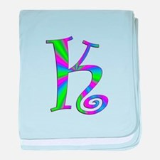 K Monogram baby blanket