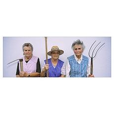 Portrait of three senior women holding gardening t Poster
