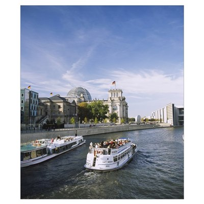 Tour boat on the Spree river, Reichstag, Berlin, G Poster