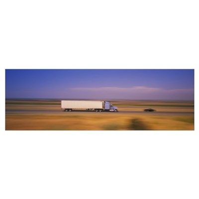 Truck and a car moving on a highway, Highway 5, Ca Poster