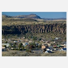 High angle view of houses in a town, Fort Davis, T