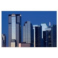 Low angle view of buildings in a city, Dallas, Tex Poster