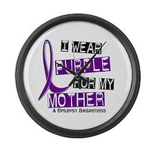 I Wear Purple 37 Epilepsy Large Wall Clock