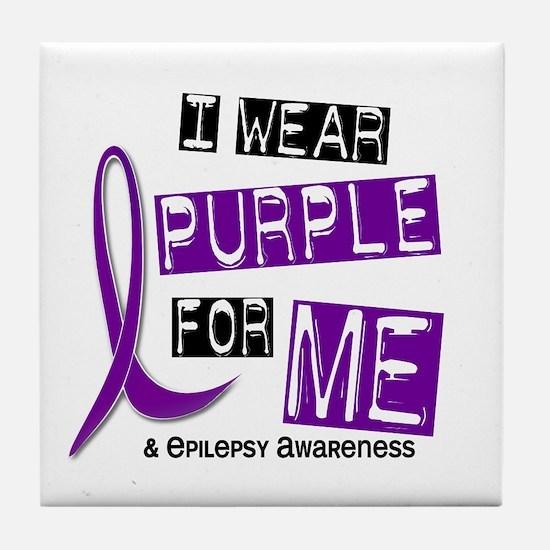 I Wear Purple 37 Epilepsy Tile Coaster