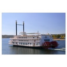 Paddleboat moving in a lake, Showboat Branson Bell Poster