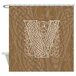 Celtic Letter V Shower Curtain