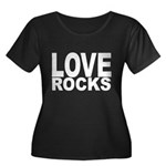 LOVE ROC Women's Plus Size Scoop Neck Dark T-Shirt