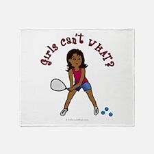 Racquetball Girl (Dark) Throw Blanket