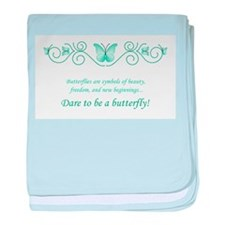 Butterfly Challenge-Teal baby blanket