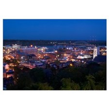 High angle view of a city at dusk, Mississippi Riv