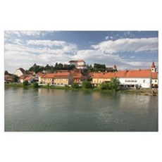 Buildings at the waterfront, Drava River, Ptuj, St Poster