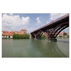 Arch bridge across a river, Drava River, Maribor, Poster
