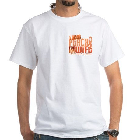 I Wear Peach 6.4 Uterine Cancer White T-Shirt
