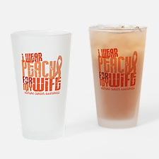 I Wear Peach 6.4 Uterine Cancer Drinking Glass
