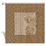 Celtic Letter F Shower Curtain