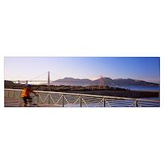 Suspension Bridge Over Water, Golden Gate Bridge, Poster