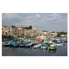 Boats moored at a port, Procida, Naples, Campania, Poster