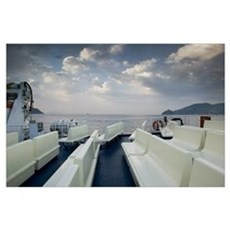 Empty benches on the deck of a ferry, Ischia, Napl Poster