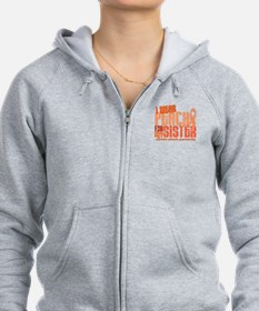 I Wear Peach 6.4 Uterine Cancer Zip Hoodie
