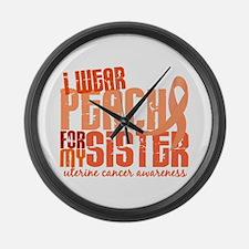 I Wear Peach 6.4 Uterine Cancer Large Wall Clock