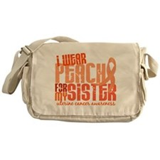I Wear Peach 6.4 Uterine Cancer Messenger Bag