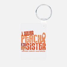 I Wear Peach 6.4 Uterine Cancer Keychains
