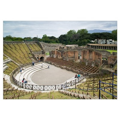 High angle view of tourists at an amphitheater, Te Canvas Art
