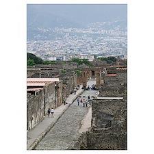 Tourists at old ruins, Via di Mercurio, Pompeii, C