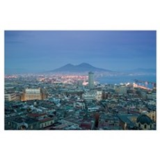 High angle view of a city, Mt Vesuvius, Naples, Ca Poster