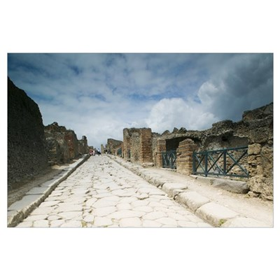 Tourists at old ruins, Pompeii, Naples, Campania, Poster