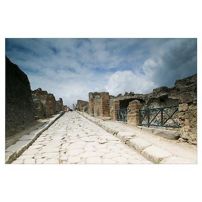 Tourists at old ruins, Pompeii, Naples, Campania, Poster