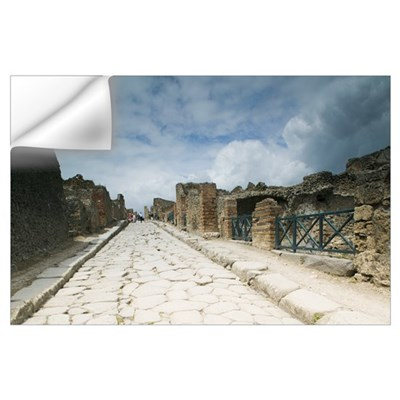 Tourists at old ruins, Pompeii, Naples, Campania, Wall Decal