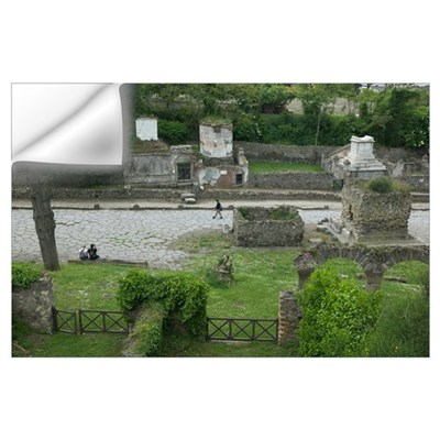 High angle view of tourists at a place of burial, Wall Decal