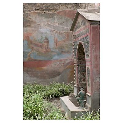 Graffiti on the wall near a fountain, Casa della F Poster