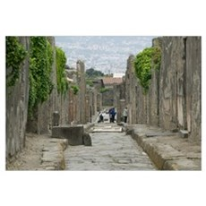 Tourists at old ruins, via di Mercurio, Pompeii, N Framed Print