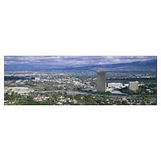 High angle view of a city, Studio City, San Fernan Poster