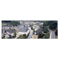 High angle view of buildings in a city, Luxembourg Poster