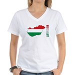Map Of Hungary Women's V-Neck T-Shirt