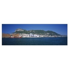 Buildings at the waterfront, Rock of Gibraltar, Gi Poster