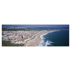 High angle view of a town, Nazare, Leiria, Portuga Poster